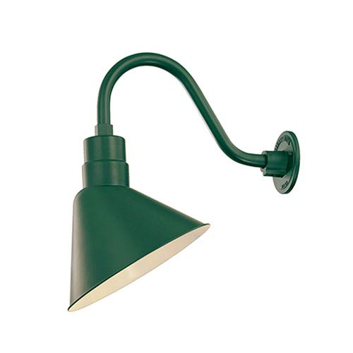 R Series Satin Green 12-Inch Angle Outdoor Wall Mount with Goose Neck