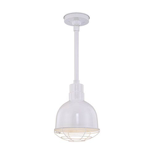 R Series White 10-Inch Outdoor Pendant with 12-Inch Stem and Wire Guard