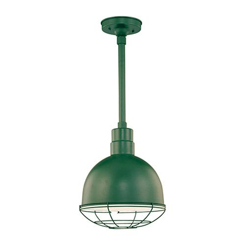 R Series Satin Green 12-Inch Outdoor Pendant with 36-Inch Stem and Wire Guard