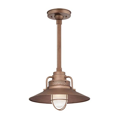 Millennium Lighting R Series Copper 14-Inch Outdoor Railroad Pendant with 36-Inch Stem