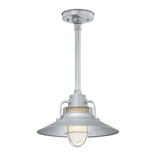 Millennium Lighting R Series Galvanized 14-Inch Outdoor Railroad Pendant with 24-Inch Stem