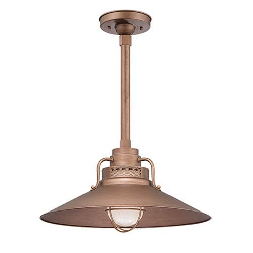 Millennium Lighting R Series Copper 18-Inch Outdoor Railroad Pendant with 24-Inch Stem