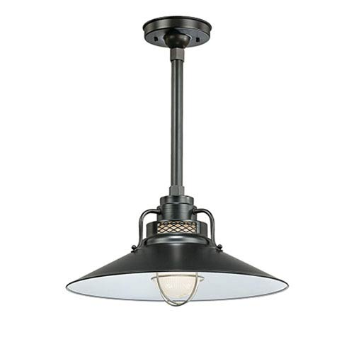 R Series Satin Black 18-Inch Outdoor Railroad Pendant with 12-Inch Stem