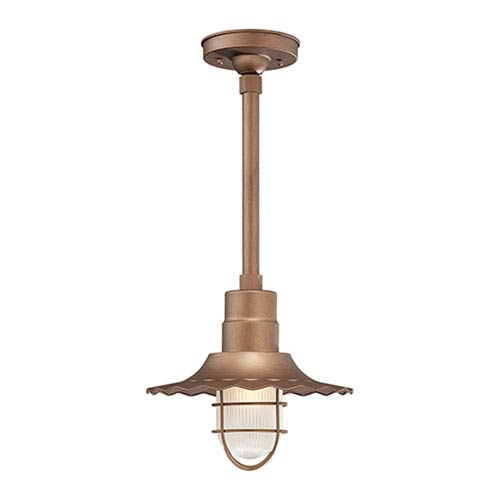 R Series Copper 12-Inch Outdoor Radial Wave Pendant with 12-Inch Stem