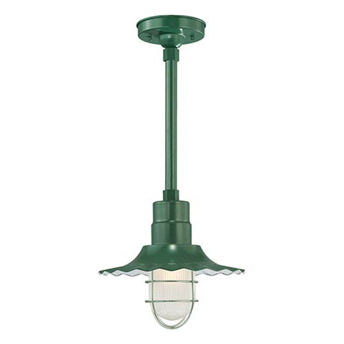 R Series Satin Green 12-Inch Outdoor Radial Wave Pendant with 24-Inch Stem