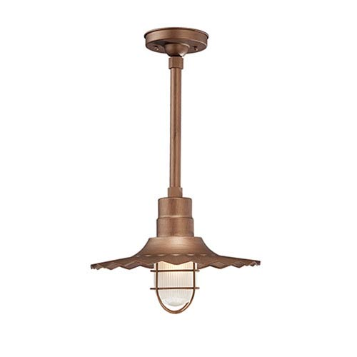 R Series Copper 15-Inch Outdoor Radial Wave Pendant with 12-Inch Stem