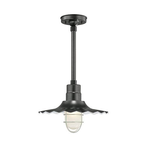 R Series Satin Black 15-Inch Outdoor Radial Wave Pendant with 24-Inch Stem