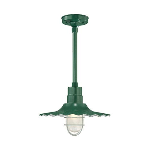 R Series Satin Green 15-Inch Outdoor Radial Wave Pendant with 24-Inch Stem