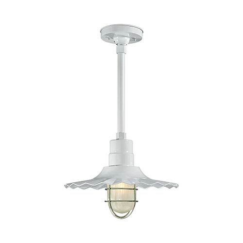 R Series White 15-Inch Outdoor Radial Wave Pendant with 12-Inch Stem