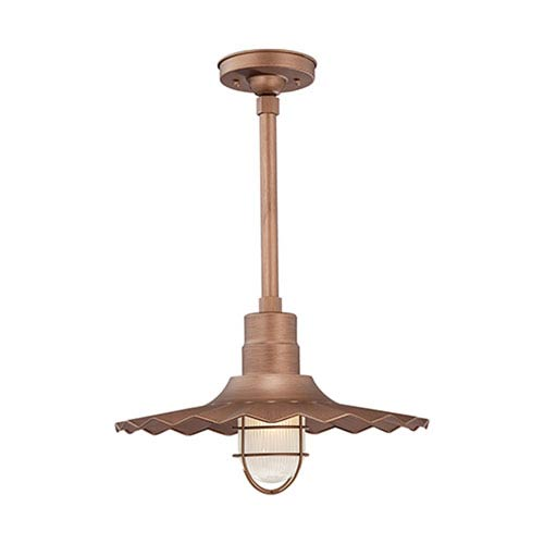 R Series Copper 18-Inch Outdoor Radial Wave Pendant with 24-Inch Stem