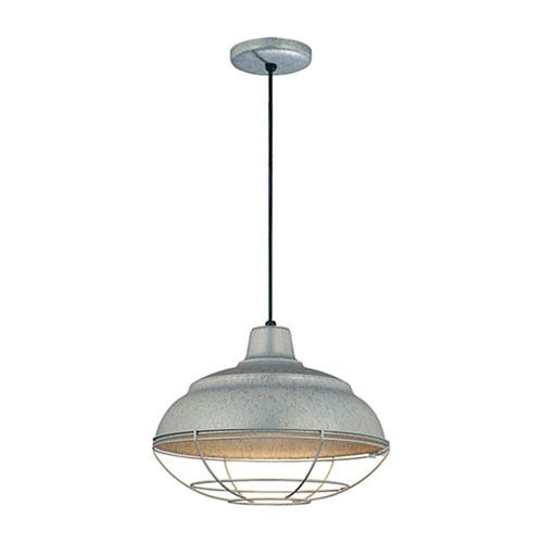 Millennium Lighting R Series Galvanized 14-Inch Warehouse Cord Hung Outdoor Pendant with Wire Guard
