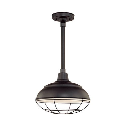 Millennium Lighting R Series Satin Black 14-Inch Warehouse Outdoor Pendant with 12-Inch Stem and Wire Guard
