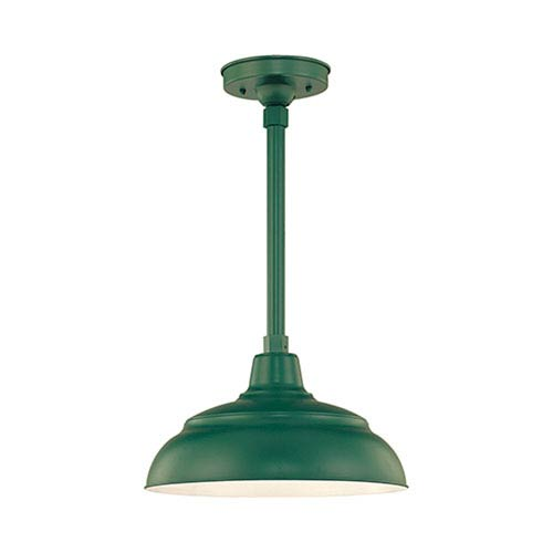 R Series Satin Green 14-Inch Warehouse Outdoor Pendant with 24-Inch Stem