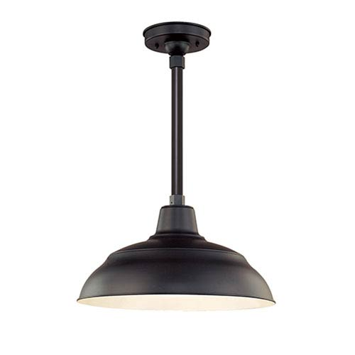 R Series Satin Black 17-Inch Warehouse Outdoor Pendant with 12-Inch Stem
