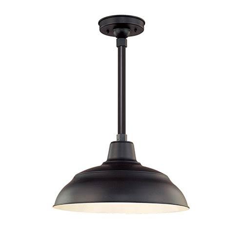 Millennium Lighting R Series Satin Black 17-Inch Warehouse Outdoor Pendant with 24-Inch Stem