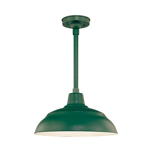 R Series Satin Green 17-Inch Warehouse Outdoor Pendant with 12-Inch Stem