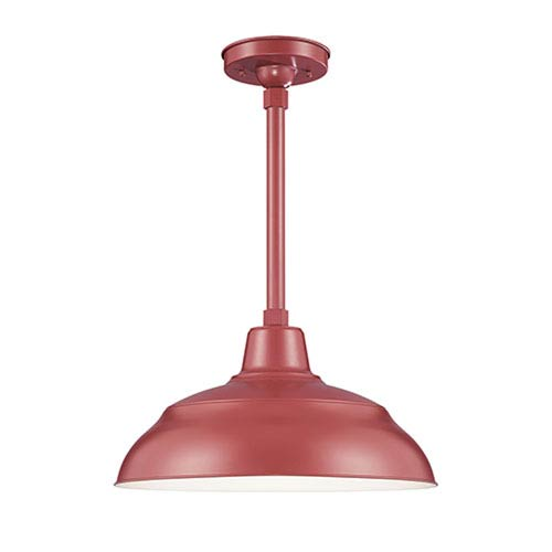 R Series Satin Red 17-Inch Warehouse Outdoor Pendant with 12-Inch Stem