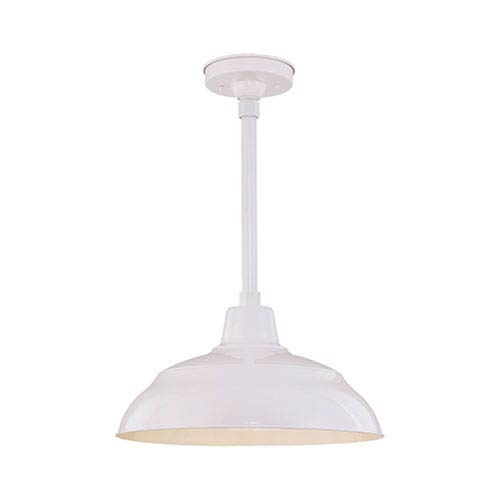 R Series White 17-Inch Warehouse Outdoor Pendant with 24-Inch Stem
