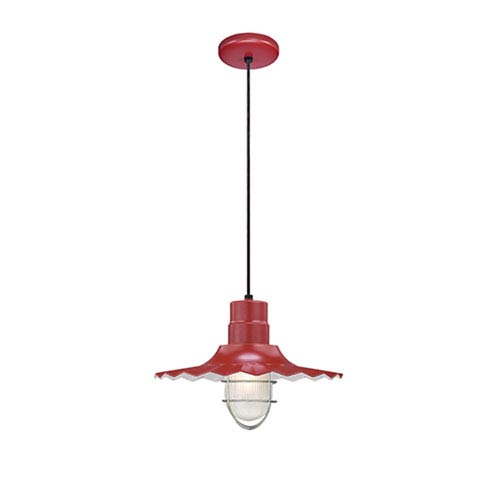 R Series Satin Red 15-Inch Outdoor Cord Radial Wave Pendant