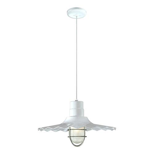 R Series White 18-Inch Outdoor Cord Radial Wave Pendant