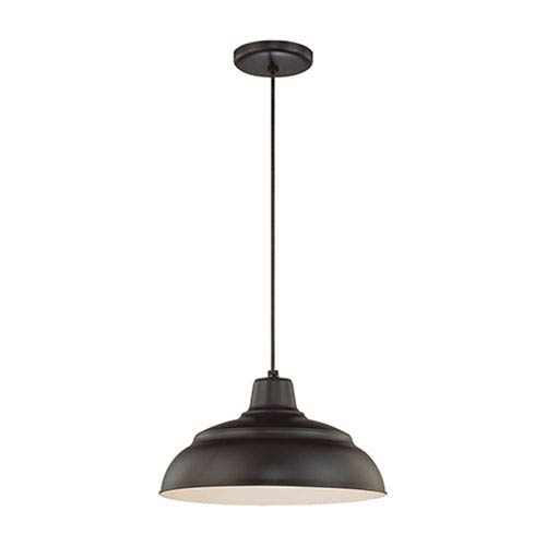 R Series Satin Black 14-Inch Warehouse Cord Hung Outdoor Pendant