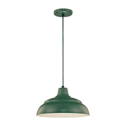 Millennium Lighting R Series Satin Green 14-Inch Warehouse Cord Hung Outdoor Pendant