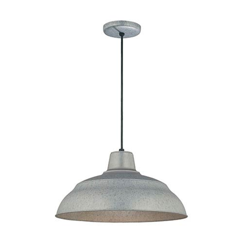 Millennium Lighting R Series Galvanized 17 Inch Warehouse Cord Hung Outdoor Pendant