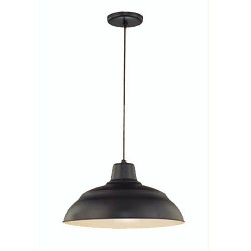 R Series Satin Black 17-Inch Warehouse Cord Hung Outdoor Pendant