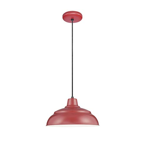 R Series Satin Red 17-Inch Warehouse Cord Hung Outdoor Pendant