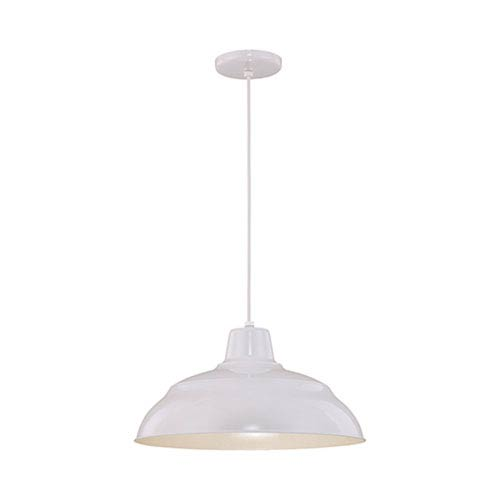 R Series White 17-Inch Warehouse Cord Hung Outdoor Pendant