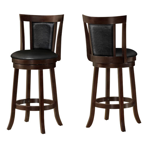 Barstool - 2 Piece / 43H / Swivel / Cappuccino Bar Height