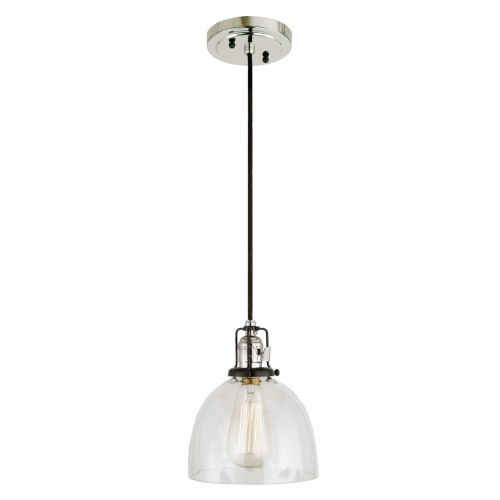 Nob Hill Madison Polished Nickel and Black One-Light Mini Pendant
