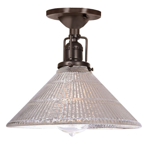 Union Square Oil Rubbed Bronze One-Light Semi Flush Mount with Mercury Glass