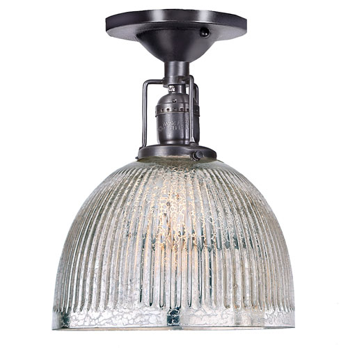 Union Square Gun Metal One-Light Semi Flush Mount with Mercury Glass