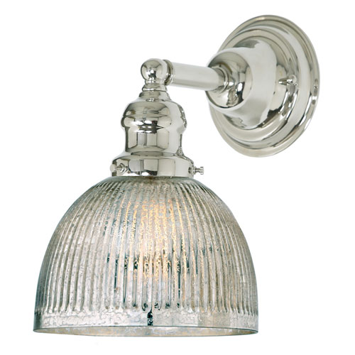 JVI Designs Union Square Polished Nickel One-Light Wall Sconce with Mercury Glass