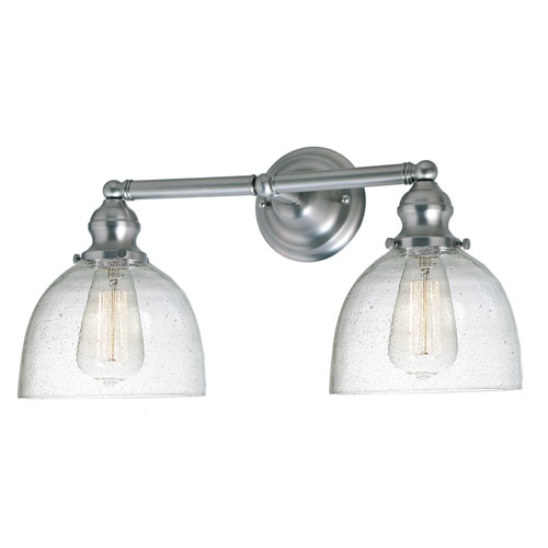 Union Square Satin Nickel Two-Light Bath Vanity with Bubble Glass