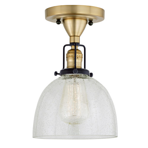 Nob Hill Madison Satin Brass and Black One-Light Semi Flush Mount with Clear Bubble Glass
