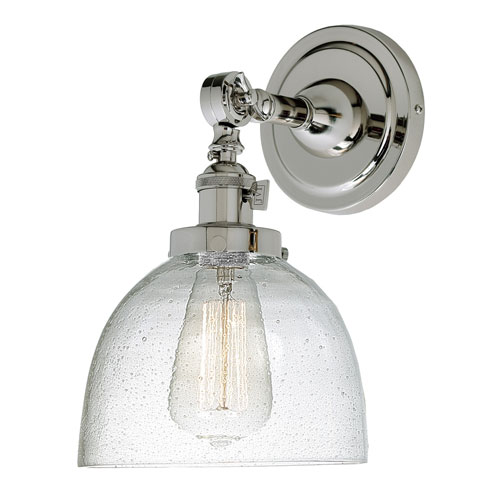 Soho Polished Nickel One-Light Wall Sconce with Bubble Glass