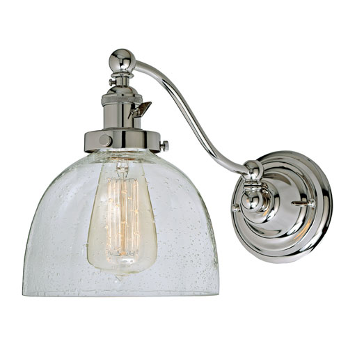 Soho Polished Nickel One-Light Swing Arm Wall Sconce with Bubble Glass