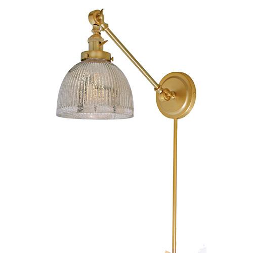 Soho Satin Brass One-Light Swing Arm Wall Sconce with Mercury Glass