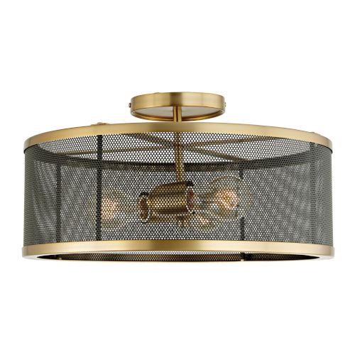 Wellington Satin Brass and Black Three-Light Semi Flush Mount