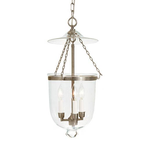 Small Pewter Three-Light Hanging Bell Pendant with Clear Glass