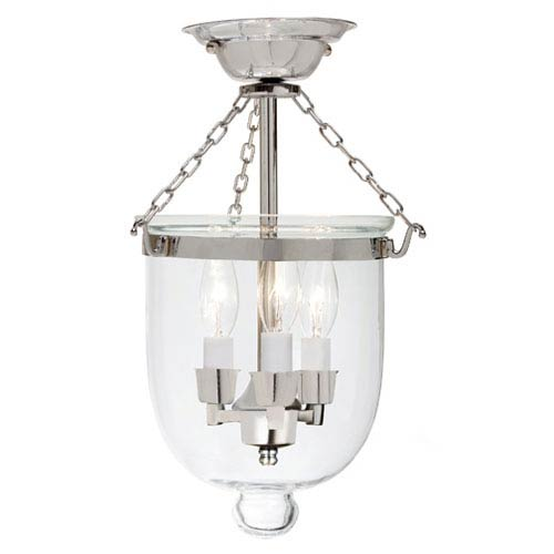 JVI Designs Small Polished Nickel Three-Light Bell Semi-Flush with Clear Glass