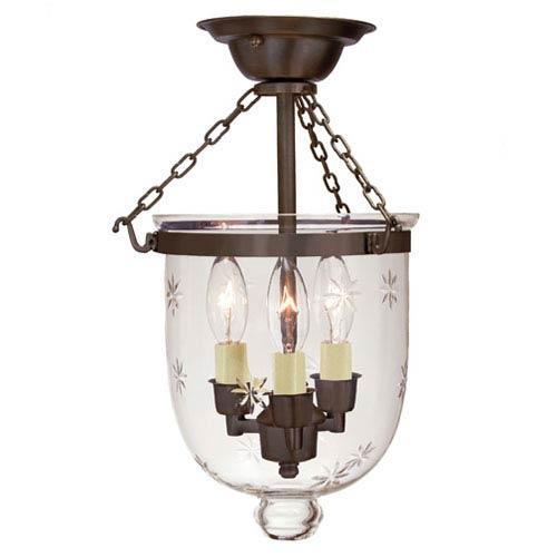 JVI Designs Small Oil Rubbed Bronze Three-Light Bell Semi-Flush with Star Glass
