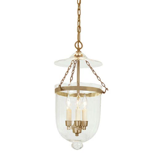 Medium Three-Light Hanging Bell Pendant with Clear Glass