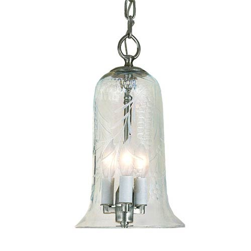 Elongated Small Pewter Three-Light Hanging Bell Pendant with Flower Glass
