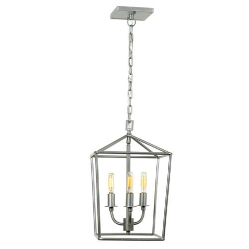 Austin Aged Silver 10-Inch Three-Light Lantern