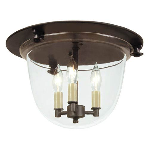 Small Three-Light Bell Flush Mount with Clear Glass