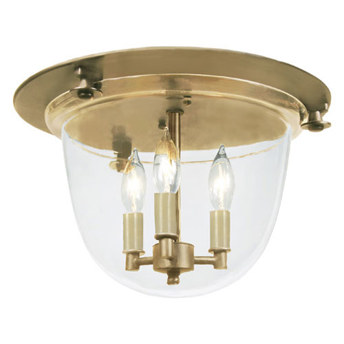 Small Rubbed Brass Three-Light Bell Flush Mount with Clear Glass