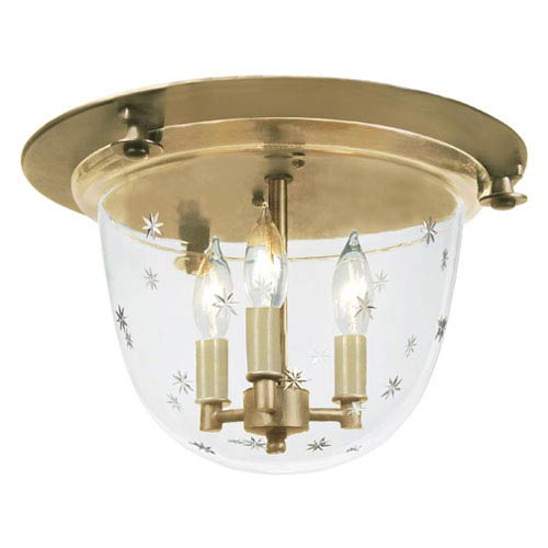 Small Three-Light Bell Flush Mount with Star Glass